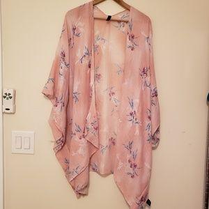 Lane Bryant Pink Gauze Kimono Overpiece one size